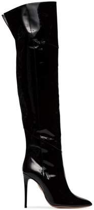 e3f6d4afdf3 Free Shipping at Farfetch · Aquazzura Alma 105 patent leather boots