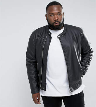 Asos DESIGN Plus faux leather racing jacket in black