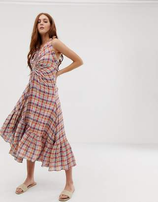 Free People Rainbow Dreams ruched check maxi dress