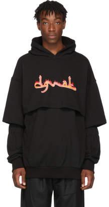 D.gnak By Kang.d Black Double Layered Logo Print Hoodie