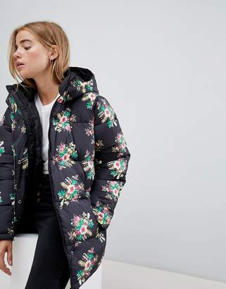 Asos DESIGN pretty floral padded jacket