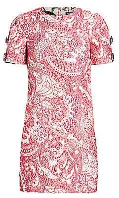 Dolce & Gabbana Women's Jacquard Short Sleeve Mini Dress