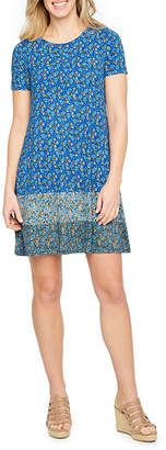 ST. JOHN'S BAY Short Sleeve Printed A-Line Dress