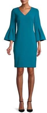 Eliza J V-Neck Bell-Sleeve Sheath Dress