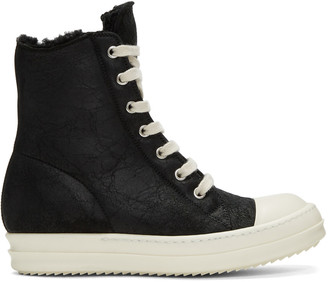 Rick Owens Black Shearling High-Top Sneakers $1,400 thestylecure.com