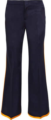 Striped Satin Flared Pants - Midnight blue
