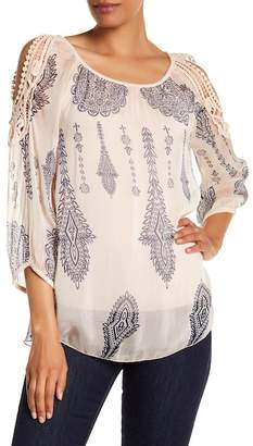 Lola Made In Italy Sheer Cold-Shoulder Blouse
