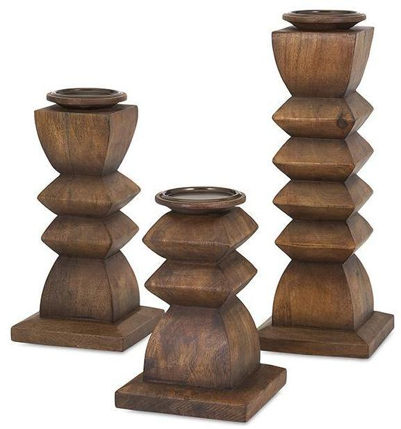 Home Decorators Collection Austin Natural Wood Candle Holders (Set of 3)