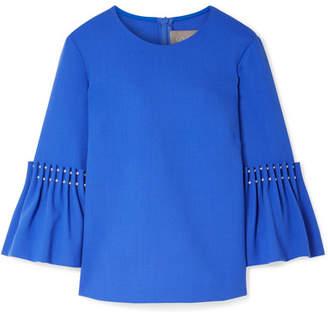 Lela Rose Faux Pearl-embellished Wool-blend Crepe Top - Blue