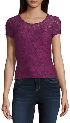 Almost Famous Short Sleeve Crew Neck Lace Blouse-Juniors