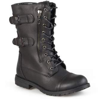 Brinley Co. Women's Buckle Detail Lace-up Boots