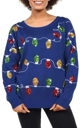 Tipsy Elves Sequins Christmas Light Sweater