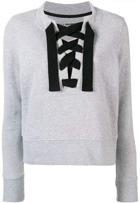 DKNY lace-up fitted sweatshirt