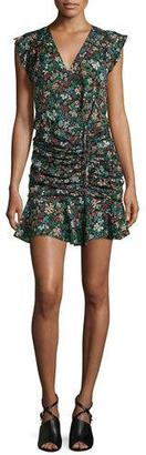 Veronica Beard Floral Silk Waterfall Dress, Black/Multicolor $495 thestylecure.com
