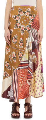 Chloé Multi-Print Patchwork Drop-Waist Skirt
