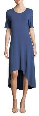 Halston H Short-Sleeve Hi-Lo Dress