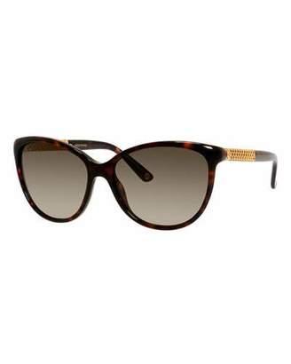 Gucci Sunsights Metal-Trim Diamantissima Cat-Eye Sunglasses, Black