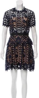 Self-Portrait Lace-Accented Mini Dress w/ Tags