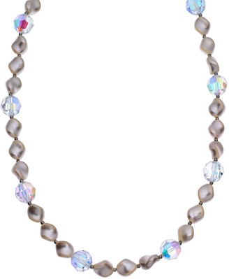 Swarovski Crystal Avenue Silver-Plated Crystal & Simulated Pearl Station Necklace - Made with Crystals