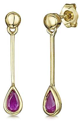 At Co Uk Theia 9ct Gold Pearshape Ruby Drop Earrings