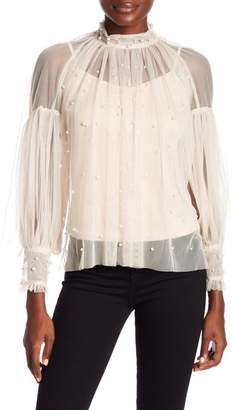 OnTwelfth Long Sleeve Pearl Mesh Top