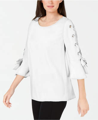JM Collection Laced Grommet-Sleeve Top