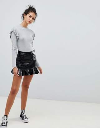 Glamorous pu skirt with frill hem