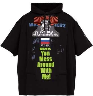 Vetements Bulldog Short Sleeved Cotton Hooded Sweatshirt - Mens - Black