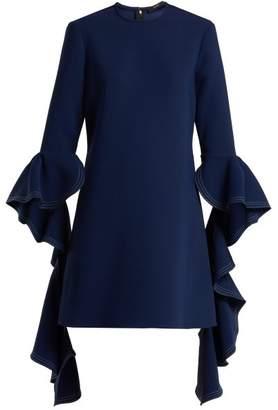 Ellery Kilkenny Ruffle Sleeves Shift Dress - Womens - Navy