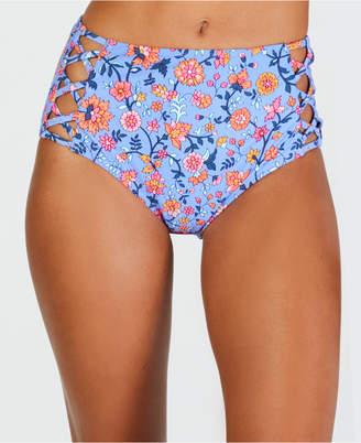 California Waves C'est La Vie Printed Strappy High Waist Bottoms, Women Swimsuit
