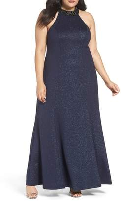 Marina Embellished Halter Gown