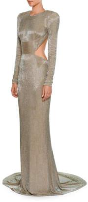 Stella McCartney Jewel-Neck Long-Sleeve Allover Beaded Evening Gown w/ Open Back