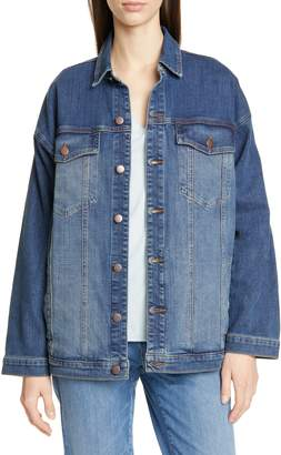 Eileen Fisher Oversize Stretch Organic Cotton Denim Jacket