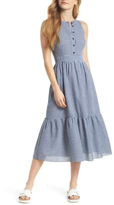 Gal Meets Glam Ardith Gingham Fit & Flare Midi Dress