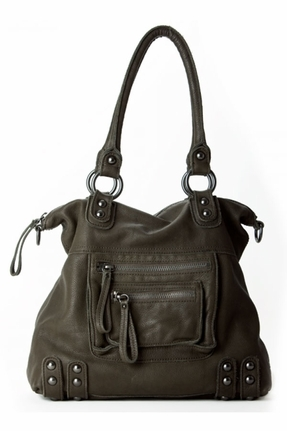 Linea Pelle Medium Dylan Leather Zip Tote in Dark Olive
