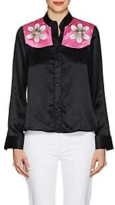 Cynthia Rowley WOMEN'S FLORAL SILK SATIN BLOUSE - BLACK SIZE XS