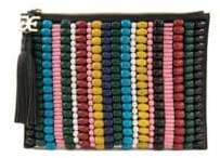 Sam Edelman Multicolor Beaded Canvas Pouch
