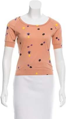Marni Polka Dot Short Sleeve Crop Top