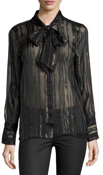 EquipmentEquipment Leema Lace-Trim Tie-Neck Blouse, Black