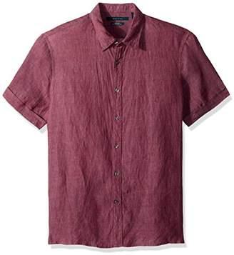 Perry Ellis Men's Short Sleeve Solid Linen Shirt