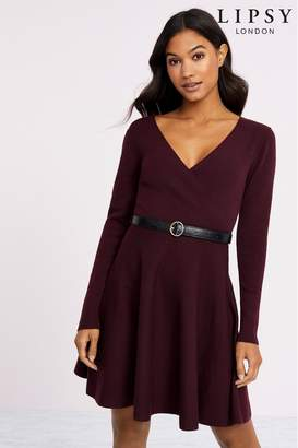 Lipsy Knitted Belted Fit And Flare Dress - 6 - Red