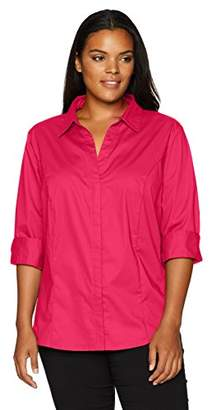 Lee Indigo Women's Plus-Size Bella Easy Care 3/4 Sleeve Woven Shirt