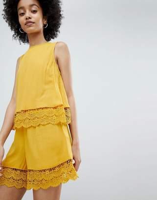 Miss Selfridge romper with double crochet layer in ochre