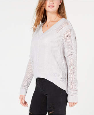 Ultra Flirt by Ikeddi Juniors' Pointelle Cable-Knit Sweater