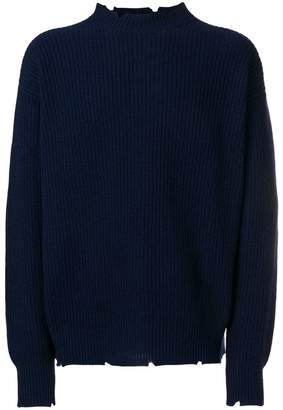 MSGM ribbed raw sweater