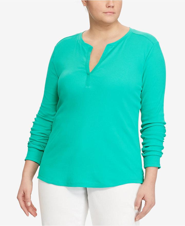 Lauren Ralph LaurenLauren Ralph Lauren Plus Size Stretch Henley Shirt