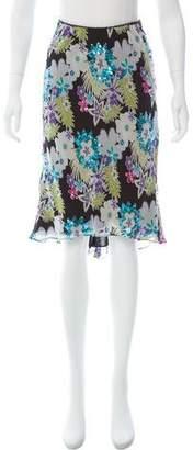 Nicole Miller Silk Sequin-Embellished Skirt