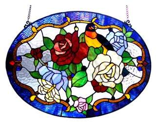 Chloé Lighting Lighting ALYSSA Tiffany-glass Roses/Bird Window Panel 24x18