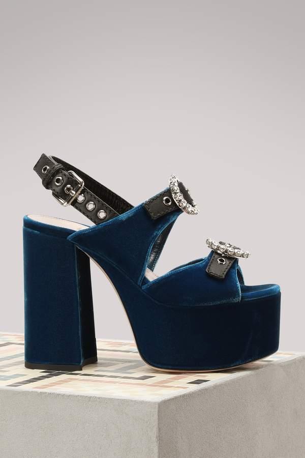 Miu Miu Velvet high heels sandals