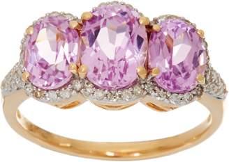 Oval Kunzite & Pave' Diamond 3-Stone Ring, 14K Gold 2.85 cttw